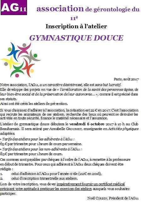 Rentrée gymnastique douce 2017-2018