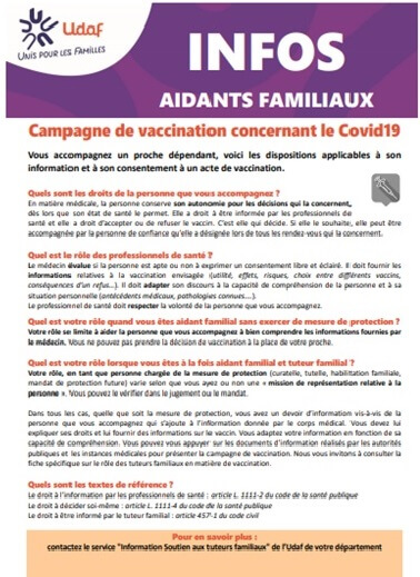 Information de l'UDAF pour les aidants familiaux